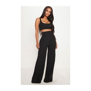 PLT  Shape Black Bandage High Waist Wide Leg Pants